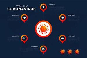 Carte covid-19, covid 19 avec rapport infographique dans le monde entier. Mise à jour de la situation de la maladie à coronavirus 2019 dans le monde. les cartes de la zone infographique montrent la situation dans le monde vecteur