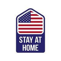 il y a une petite maison avec un mot rester à la maison à l'intérieur. c'est un signe suite à la campagne covid-19, rester à la campagne. le fond est le drapeau des Etats-Unis.