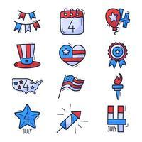 Jeu d'icônes du 4 juillet. Icônes de doodle dessinés à la main fête de l'indépendance des États-Unis isolés sur fond blanc. main dessiner style cartoon traditionnel états-unis