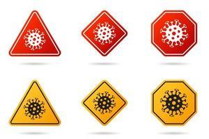 ensemble de panneau de signalisation de coronavirus. icône de cellule de bactéries coronavirus, 2019-ncov dans les panneaux de signalisation de prudence. symbole d'avertissement de covid-19, mers-cov, nouveau coronavirus. jeu d'icônes vectorielles d'épidémie