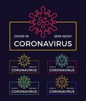 ensemble de badges de pandémie de coronavirus. illustration vectorielle de santé et médical. propagation de l'épidémie de virus covid-19. arrêter le concept de design de t-shirt de coronavirus.