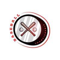 logo vectoriel circulaire de baseball avec chauve-souris croisée. typographie professionnelle moderne sport emblème de vecteur de style rétro et modèle de conception de logo de baseball création de logo rouge.