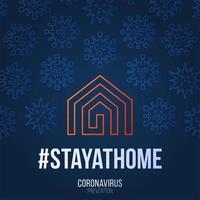 rester à la maison illustration vectorielle. coronavirus covid-19 écrit dans la conception d'affiche de typographie. sauver la planète du coronavirus. restez en sécurité à l'intérieur de la maison. prévention du virus. vecteur