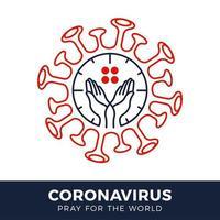 priez pour le concept de coronavirus mondial avec illustration vectorielle de mains. vecteur