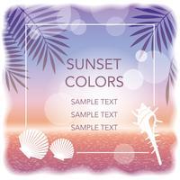 Un fond de coucher de soleil / cadre de vecteur avec des feuilles de palmier et des crustacés.