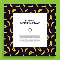 une carte postale carrée avec des motifs de banane sans soudure. bannière de cadre de vecteur avec des bananes de fruits jaunes. illustration d'été avec un espace vide pour le texte