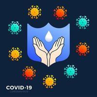 une icône de lavage à la main avec une bordure de bouclier bleue pour représenter un moyen d'empêcher la propagation du symbole de germes. concept empêcher le coronavirus covid-19 illustration vectorielle