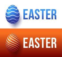 typographie colorée à la mode moderne joyeuses Pâques sur fond d'oeufs de Pâques. Lettrage réaliste 3D pour la conception de flyers, brochures, dépliants, affiches et cartes vector illustration