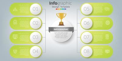 Le vecteur de conception infographique et les icônes peuvent être utilisés pour la mise en page du flux de travail, le diagramme, le rapport, la conception Web. concept d'entreprise avec des options, des étapes ou des processus.