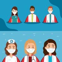 groupe d'avatars de professionnels de la santé vecteur