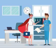 super infirmière et ambulancier au bureau vecteur