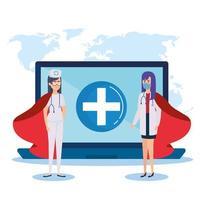 super médecins avec capes d'héroïne et ordinateur portable vecteur