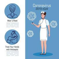 bannière de prévention des coronavirus avec infirmière
