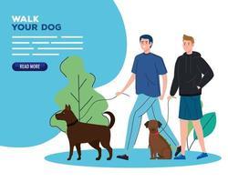 les gens promènent leurs chiens en plein air bannière