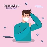 homme avec bannière de symptômes de coronavirus