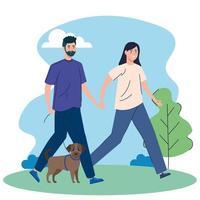 les gens promènent leur chien à l'extérieur