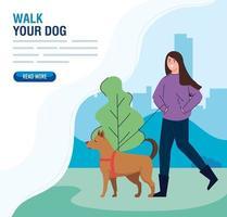femme, marche, les, chiens, extérieur, bannière