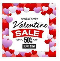 vente de la Saint-Valentin, carte de réduction. vecteur