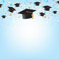 concept de l'éducation avec des casquettes de graduation sur fond.