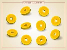 pièces d'or chinoises sous plusieurs angles en style papier découpé