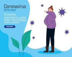 bannière de symptômes de coronavirus avec femme