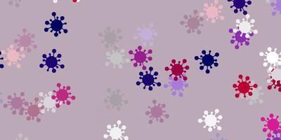 modèle vectoriel violet clair, rose avec des éléments de coronavirus.