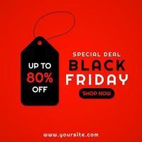 vente bannière fond rouge étiquette conception vendredi noir