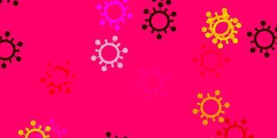 toile de fond de vecteur rose clair et jaune avec symboles de virus