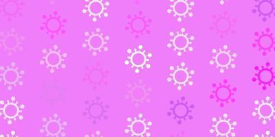 modèle vectoriel violet clair avec des éléments de coronavirus.
