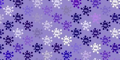toile de fond de vecteur violet clair, rose avec symboles de virus