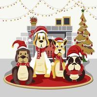 chiens mignons à Noël avec cheminée vecteur
