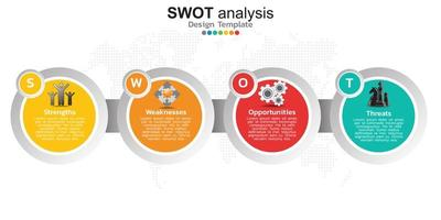 quatre éléments colorés avec des icônes et place pour le texte dans le concept de l'analyse swot.