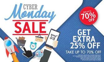 bannière cyber lundi moderne avec un design plat