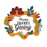 affiche de typographie de Thanksgiving avec cadre floral vecteur