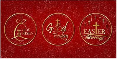 bonne étiquette de vendredi avec un style or sur fond rouge.