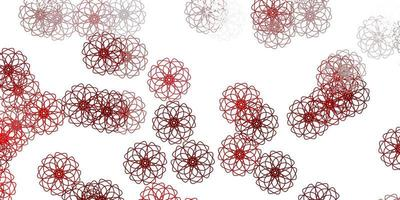 modèle de doodle vecteur rouge clair avec des fleurs.