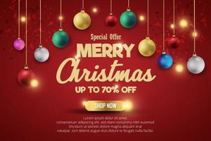 bannière de vente de Noël pour le produit actuel sur fond rouge. texte joyeux Noël boutique maintenant. vecteur