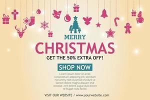 bannière de vente de Noël sur fond clair. texte joyeux Noël boutique maintenant.