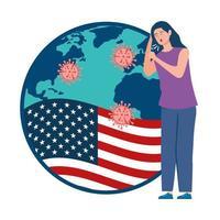 drapeau usa avec jeune femme malade de covid-19 vecteur