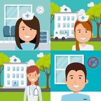 ensemble pour les professionnels de la santé pour la campagne contre le coronavirus vecteur