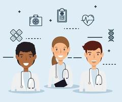 travailleurs de la santé avec des icônes médicales
