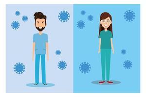 travailleurs de la santé avec des icônes de coronavirus vecteur