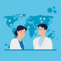 travailleurs de la santé et bannière de la carte du monde vecteur