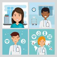 ensemble de scènes de médecins et paramédicaux