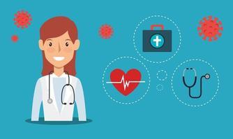 travailleur de la santé avec des icônes médicales vecteur