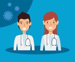 médecins pour la campagne contre le coronavirus vecteur