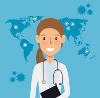 travailleur de la santé avec carte du monde vecteur