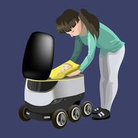méthodes de livraison de robots modernes. fille sort la pizza du robot auto-conduit des marchandises de livraison rapide en ville. concept d'innovation technologique d'expédition. illustration vectorielle moderne. isolé