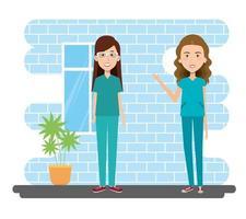 Scène intérieure des travailleurs de la santé