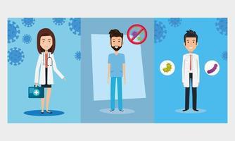 travailleurs de la santé avec des icônes de coronavirus